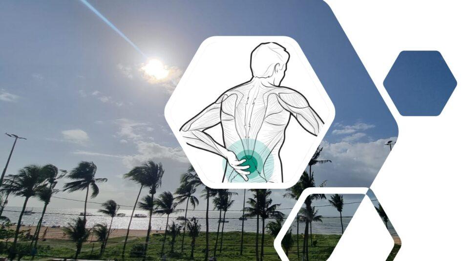 Ilustração de Rodrigo Damati. Homem com dor na lombar para o texto Autista de corpo e alma quebrados. Ao fundo, Praia de Tambaú, João Pessoa