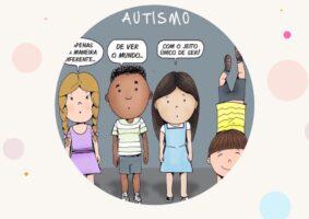 Quatro garotinhos dizendo: Autismo é apenas uma maneira diferente de ver o mundo com um jeito único de ser.