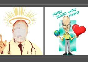 Foto de um médico com o rosto desfocado e com auréola na cabeça. Ao lado caricatura do poeta Carlos Dummond de Andrade carregando o mundo na mão direita e um coração estilizado na mão esquerda.