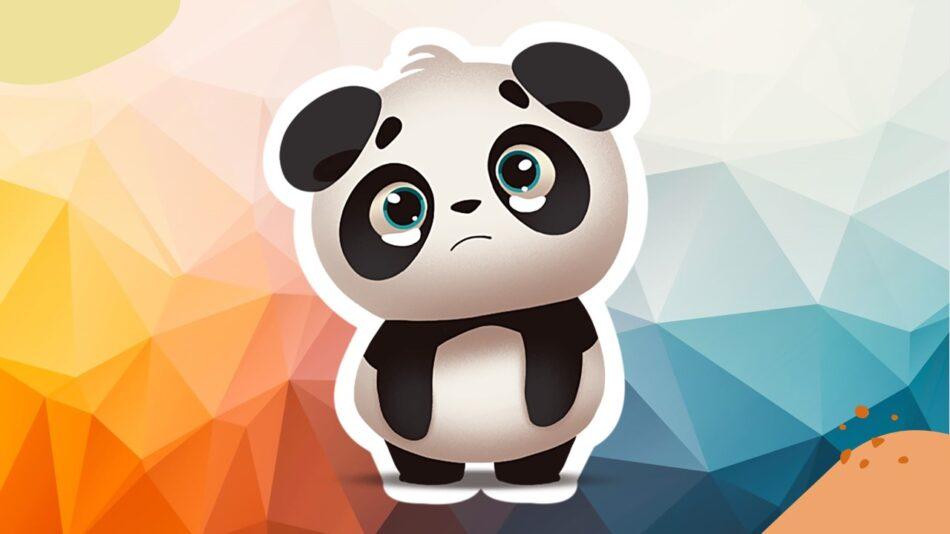 Imagem de urso panda tristinho apesar do cenário colorido