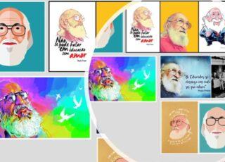 Quadros do site elo7 ilustrando o texto A educação de Paulo Freire é a esperança