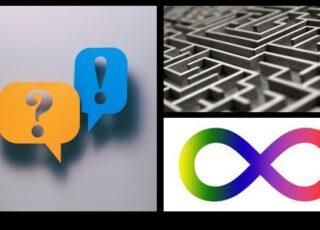 O autismo e a dificuldade na comunicação é tema sério. Na imagem está representado pelo labirinto, a interrogação das dúvidas e a exclamação das descobertas. Fechando a imagem, o símbolo da neurodiversidade.