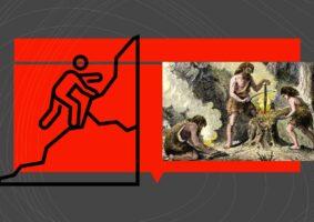 Ilustração do texto, Autista não interage socialmente. Foto Blog EstudoKids, de 3 homens das cavernas. e o desenho de outro subindo uma montanha.