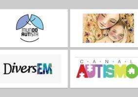 Logos Canal Autismo, DiverEM e Mundo Autista, Desenho de mãe e filho retirado de: Na Sisteragem Feminismo, sororidade, humor e o que mais vier. Para falar sobre Mãe autista mãe atípica e maternidade atípica