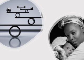 Uma escala de balança digital usando círculos de um lado e, do outro, uma mãe preta com seu bebê no colo. A imagem representa O desafio de nascer criança preta no Brasil