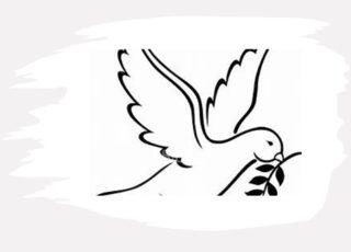 Desenho da pombinha com a folha de oliveira no bico. Para ilustrar o texto O perdão que liberta.