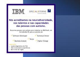 Logo da Specialisterne e IBM falando sobre oportunidade de trabalho para pessoas com autismo. Vagas na IBM em Hortolândia, São Paulo.