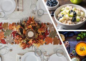 Ilustração ao texto: Alimentação moderna, novas composições à mesa! Fotos de comida e uma mesa posta.