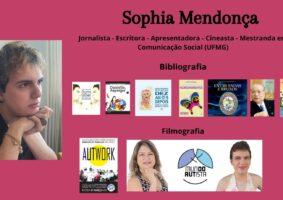 Para ilustrar o texto, Do livro Outro Olhar - Reflexões de Autista, foto da autora Sophia Mendonça e os seus sete livros publicados.