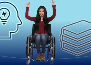 Ilustração do texto: Ler é viajar... para onde? Uma moça cadeirante com os braços levantados, comemorando. De um lado o desenho do perfil de uma pessoa, com uma lâmpada no lugar do cérebro. Do outro, livros empilhados.