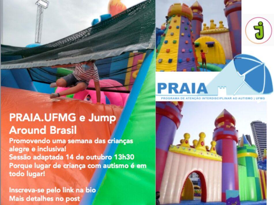 Lugar de criança autista é em todo lugar. PRAIA-UFMG, em parceria com o Jump Around Brasil, vai realizar sessão única e gratuita, no dia 14, BH Shopping, às 13h30. É o que diz essa foto do maior Castelo da América Latina.